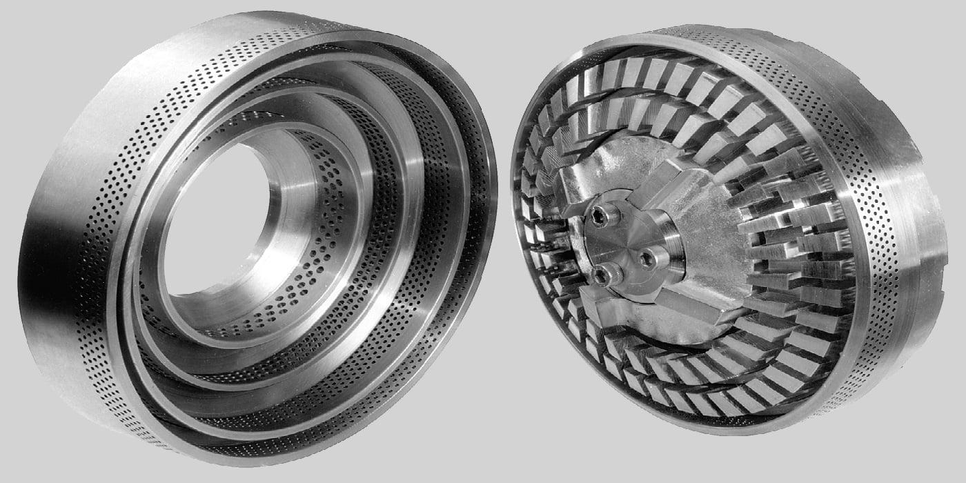 Rotor-Stator System einer CAVITRON Maschine in Düsen Ausführung. Links ist der Rotor, Rechts der Stator.