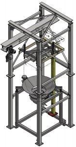 3D-Modell einer Big-Bag Entleerstation mit integrierter Kranbeladung