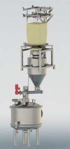3D-Model von einer Big-Bag Entleerstation. Von oben: Krangestell, Klemmbrille, Big-Bag, Pulverpufferbehälter, Förderschnecke, Verarbeitungstank.