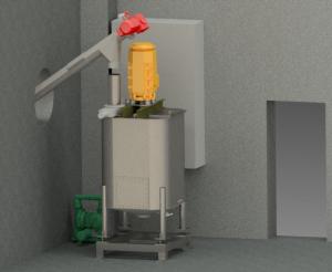 3D- Modell einer Klebstoffaufbereitung. Der quadratische Ansatzbehälter steht in einer Ecke. Die Förderschneck, die in den Behälter fördert geht links durch ein Loch in der Wasnd.