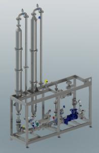 3D-Modell eines Stärkekochers mit senkrechter Haltestrecke und CAVIJET Jetheater.
