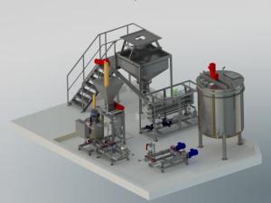 3D-Modell einer Komplettanlage. Sie steht auf einem weißen Fundament und beseht aus: Bib-Bag Entleerstation, Dispergierstation, Stärkekocher, Ansatzbehälter und einer Pumpenstation. Die Verbindungen der einzelnen Komponenten ist, bis auf die Förderschnecke zwischen Big-Bag Entleerstation und Dispergierstation, nicht dargestellt.