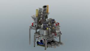 3D-Modell eine doppelten Stärke- Dispergierstation vor grauem Hintergrund