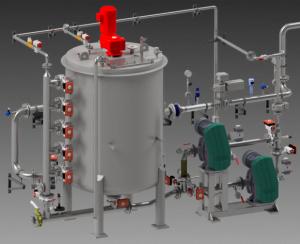 3D-Modell eines enzymatischen Stärkekonverters. Links ist ein Behälter mit Verrohrung zu sehen und rechts zwei Pumpen und weitere Rohrleitungen.