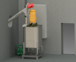 3D-model of a Adhesive preparation plant. You can see a square batch preparation tank connected to a conveyer screw in a corner of a building.