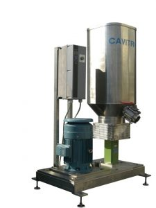 CAVIMIX with a square tank and a frequency converter to control the speed of the machine.