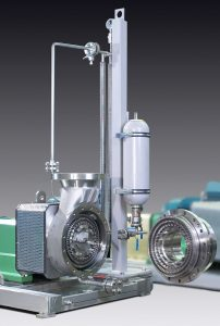 CD1030 machine with an unfolded Rotor-Stator system and a Barrier fluid system attached to the machine