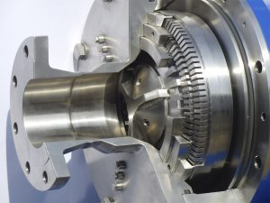 To see: a sectional view of our CAVITRON machine. You can see the noozle holes and chambers of the Rotor-Stator system