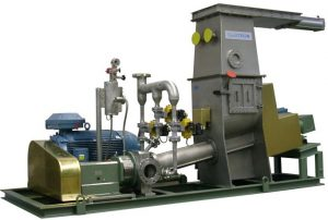 rubber disolving unit with CAVITRON machine, conveying screw and storage tank