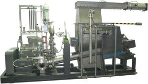 rubber disolving unit with CAVITRON machine, cooler, conveying screw and storage tank